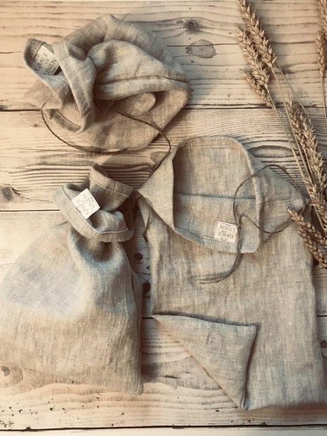 Dažāda izmēra maisiņi maize tēja