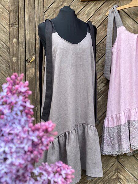 S/M izm. 100% lina kleita pelēkā krāsā ar rišu MIDI garums