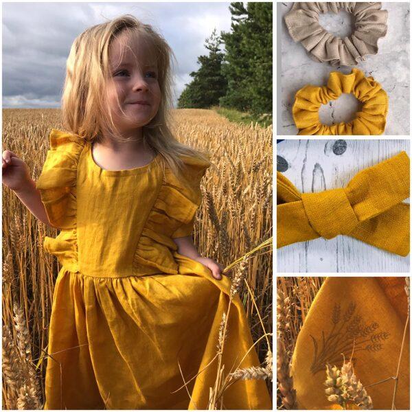 4-5g.vecumam 100% lina kleita sinepjudzeltena ar izšuvumu