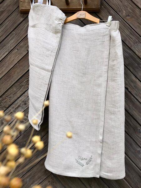 Pirts kleita ar aizdari un gumiju lina dabīga krāsa