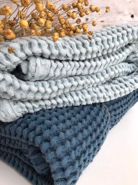 Jūras zils pleds-sedziņa (lins+kokvilna)